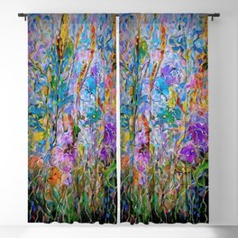 Meadow Flowers and Grass Abstract by OLena Art Blackout Curtain