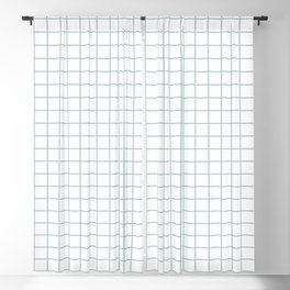 Minimalist Window Pane Grid Sea Foam On White Blackout Curtain