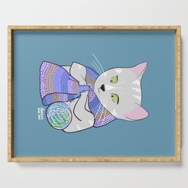 Autumn and winter cats - knitting Serving Tray