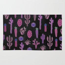 Cactus Pattern On Chalkboard Rug