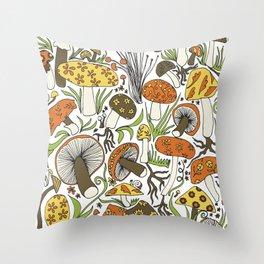 Hand-drawn Mushrooms Throw Pillow