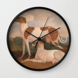 oil paintings of greyhounds Wall Clock