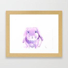 Pink & Purple Bunny Watercolor Framed Art Print