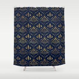 Elegant Fleur-de-lis pattern - Gold and deep blue Shower Curtain