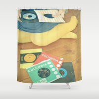 vinyl Shower Curtains featuring Vinyl by Cassia Beck