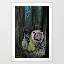 Girl and Caterpillar Travelling Through a Forest Art Print