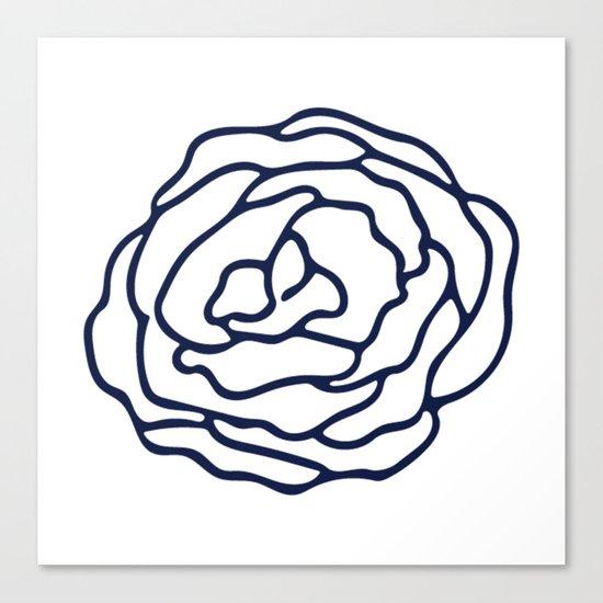 Rose Nautical Navy on White Canvas Print
