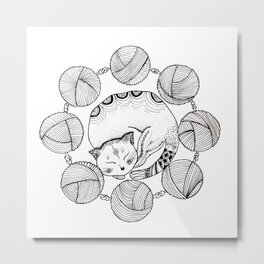 Turning into a white cat Metal Print