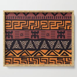 Tribal ethnic geometric pattern 021 Serving Tray