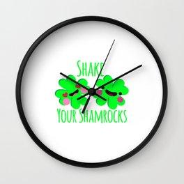 Shake Your Shamrocks Funny St. Patrick's Day Wall Clock