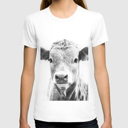 bw cow, southwest decor, farmhouse photography, rustic decor T-shirt