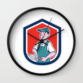 Bricklayer Mason Plasterer Shield Cartoon Wall Clock