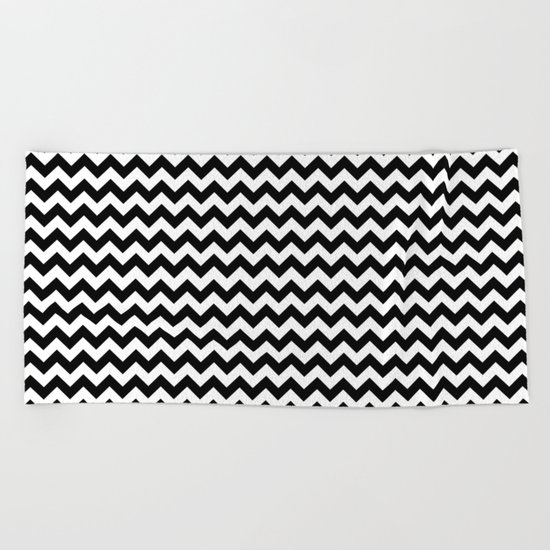 Chevron (Black/White) Beach Towel