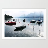 Boats on Lake Garda Art Print