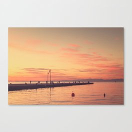Trieste. Sunset over the Molo Audace. Canvas Print