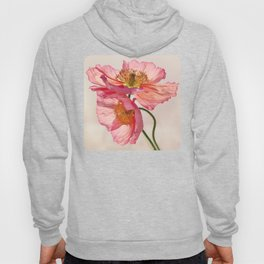 Like Light through Silk - peach / pink translucent poppy floral Hoody