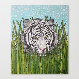 White tiger in wild grass Canvas Print