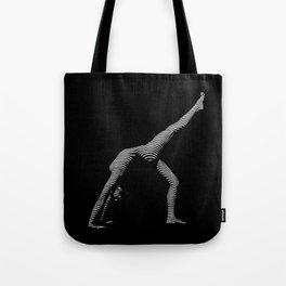 9466s-DJA BW Zebra Striped Nude Woman Yoga Pose Tote Bag