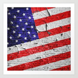 Vintage Patriotic American Flag Art Print