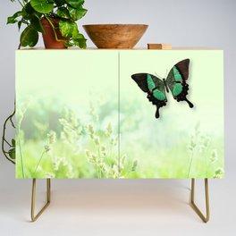 Green Butterfly, Wildflower Meadow, Summer Field Credenza