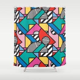 Colorful Memphis Modern Geometric Shapes - Tribal Kente African Aztec Shower Curtain