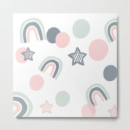 pink and grey stars and rainbows Metal Print