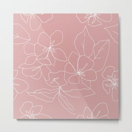 Floral Drawing on Pale Pink, Stonecrop Garden Series Metal Print