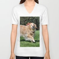 happiness V-neck T-shirts featuring Happiness by IowaShots