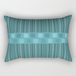 Retro Mid Century Modern Stripes Teal Rectangular Pillow