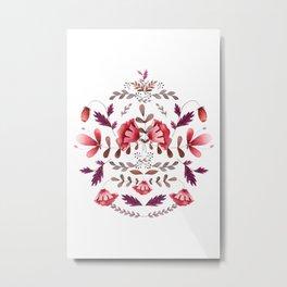 Scandinavian Flower Folk Art Metal Print