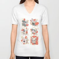 cigarettes V-neck T-shirts featuring Cigarettes Deluxe by Kensausage