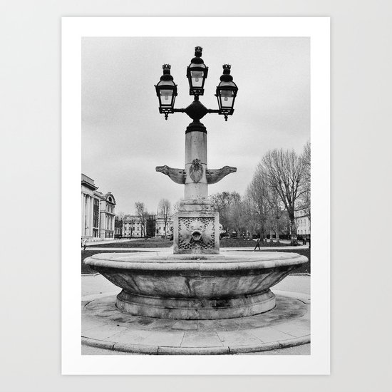 Fountain B&W Art Print