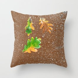 Rainy Leaves on Chocolate brown Terrazzo background Throw Pillow