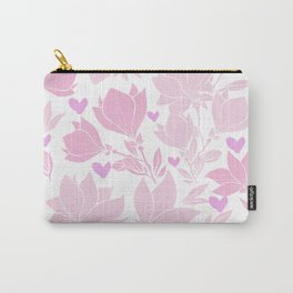 Whimsical Pink Magnolia And Hearts Carry-All Pouch