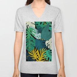 Tropical Jungle Leaves Unisex V-Neck
