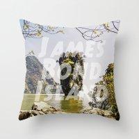 james bond Throw Pillows featuring James Bond Island (vintage) by Armine Nersisian