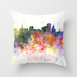 Hartford skyline in watercolor background Throw Pillow
