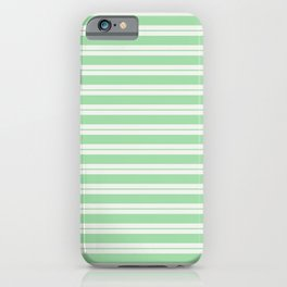 Pastel Green Line Pattern 1 on Linen Off White Pairs to 2020 Color of the Year Neo Mint iPhone Case
