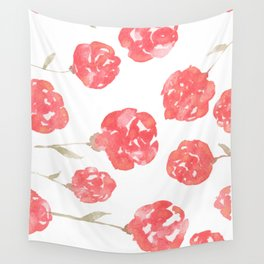 Red Flowers Wall Tapestry