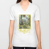 hare V-neck T-shirts featuring Hare by Natalie Berman
