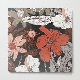 Khaki jungle flowers Metal Print