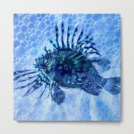 Lion Fish Abstract in Blue Bubbly Ocean Metal Print