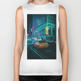 Taxi in the City (Color) Biker Tank