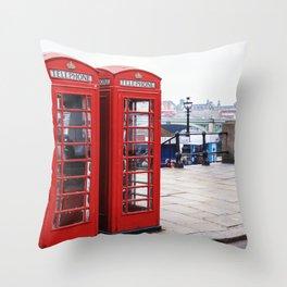 Old English Phone Boxes Throw Pillow