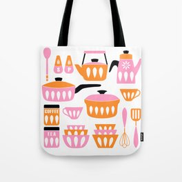 My Midcentury Modern Kitchen In Pink And Tangerine Tote Bag