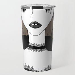 Goth girl with big brown eyes Travel Mug