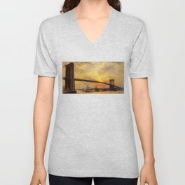 View of The Brooklyn Bridge by Emile Renouf Unisex V-Neck