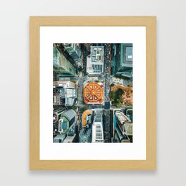 Aerial Cityscape View (Color) Framed Art Print