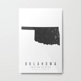 Oklahoma Mono Black and White Modern Minimal Street Map Metal Print
