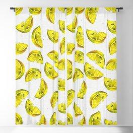 Lemon Slices Pattern White Blackout Curtain